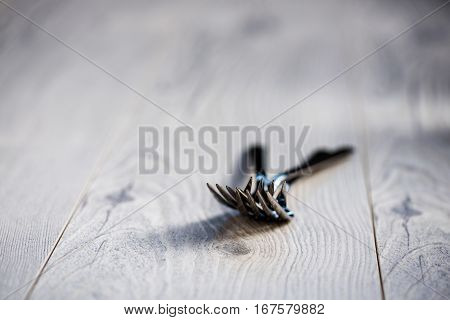 Forks On A White Rustic Table Top