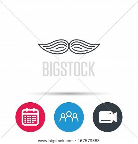 Mustache icon. Hipster symbol. Gentleman sign. Group of people, video cam and calendar icons. Vector