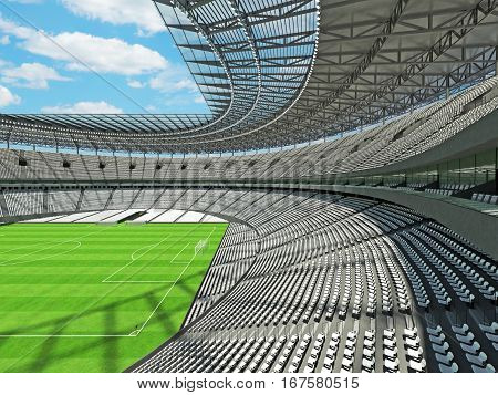 3D Render Of A Round Football - Soccer Stadium With White Seats