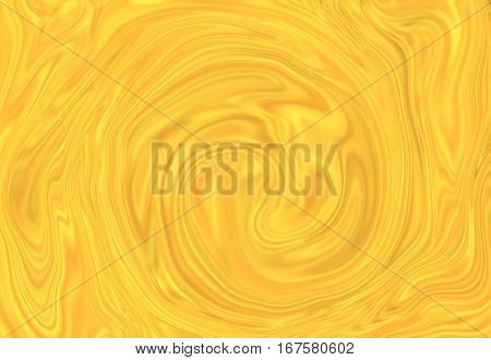 Abstract swirl background. Mesh liquid surface digital illustration. Mesh texture with yellow paint drips. Abstract pattern of marble or wood. Bright suminagashi ink for web design or digital paper