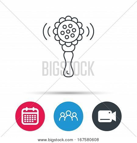 Baby rattle icon. Toddler toy sign. Child fun ball symbol. Group of people, video cam and calendar icons. Vector