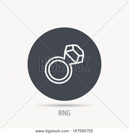 Ring with diamond icon. Jewellery sign. Round web button with flat icon. Vector