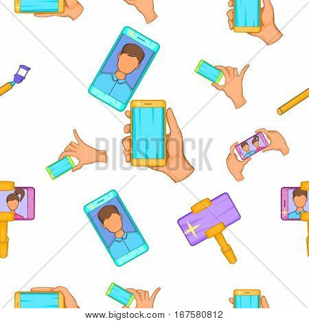 Selfie pattern. Cartoon illustration of selfie vector pattern for web