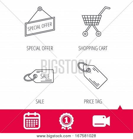 Achievement and video cam signs. Shopping cart, price tag and sale coupon icons. Special offer label linear sign. Calendar icon. Vector