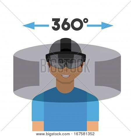 man with augmented reality visor over white background. colorful design. vector illustration