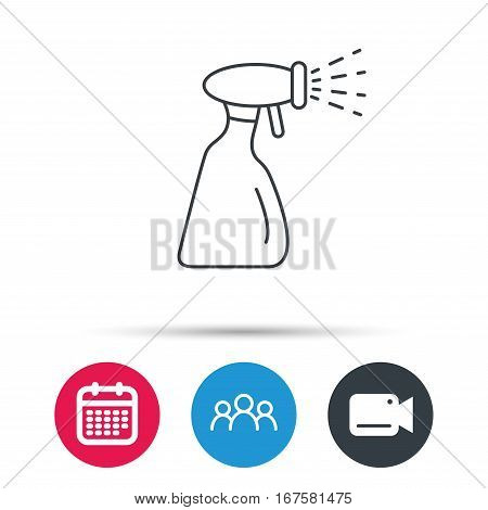 Cleaning spray bottle icon. Washing tool sign. Group of people, video cam and calendar icons. Vector
