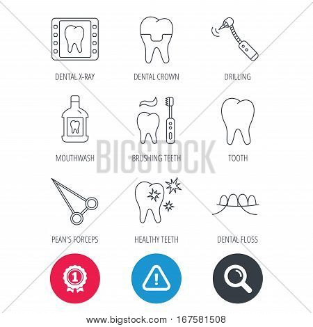 Achievement and search magnifier signs. Stomatology, tooth and dental crown icons. X-ray, mouthwash and dental floss linear signs. Toothache, forceps icons. Hazard attention icon. Vector