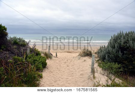 Entrance to the beach. Eastern View is a small coastal town in the Surf Coast Shire Victoria Australia.
