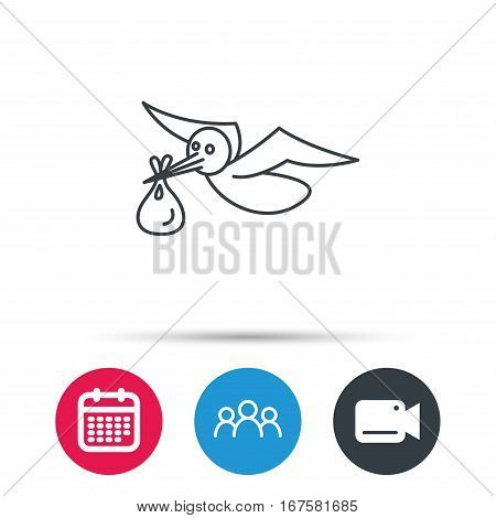 Stork with sack icon. Newborn baby symbol. Group of people, video cam and calendar icons. Vector