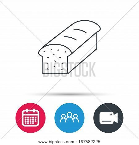 Toast icon. Sliced bread sign. Bakery symbol. Group of people, video cam and calendar icons. Vector