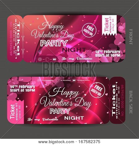 Vector Happy Valentine's Day night party ticket on the red and pink gradient background with hearts stars and waves.