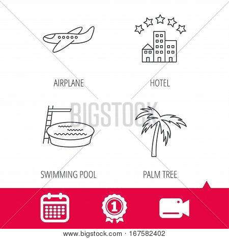 Achievement and video cam signs. Swimming pool, airplane and palm tree icons. Hotel linear sign. Calendar icon. Vector