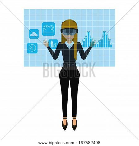 woman cartoon with augmented reality visor over white background. colorful design. vector illustration