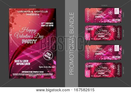 Vector Happy Valentine's Day night party promotional bundle of red and dark pink poster and tickets with hearts on the dark gray background.