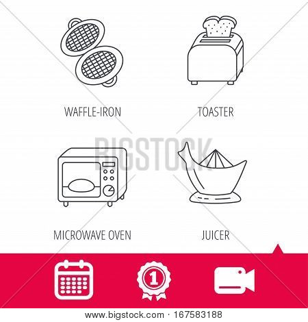 Achievement and video cam signs. Microwave oven, toaster and juicer icons. Waffle-iron linear sign. Calendar icon. Vector