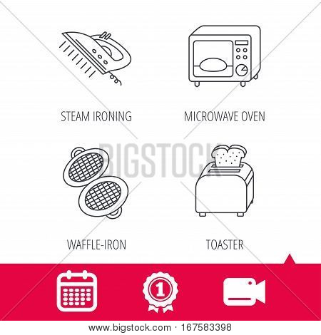 Achievement and video cam signs. Microwave oven, waffle-iron and toaster icons. Steam ironing linear sign. Calendar icon. Vector