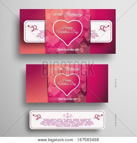 Vector set of red and pink greeting card for Valentine's Day with insert white paper stripe on the gray background.