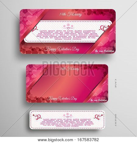 Vector set of white and pink greeting card for Valentine's Day insert in pink and red case with pockets at the corners on the gray background.