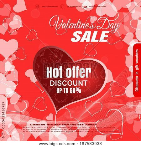 Vector promotional red poster of Happy Valentine's Day sale with cutout heart on the background with different hearts.