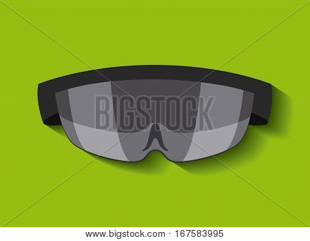 augmented reality visor over green background. colorful design. vector illustration