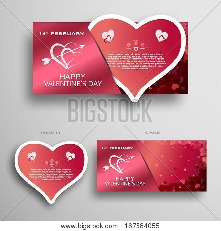 Vector set of greeting paper heart for Valentine's Day insert in case with dark red and pink pattern from hearts on the gray gradient background.