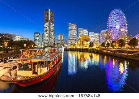 Cityscape of Yokohama at night, Japan