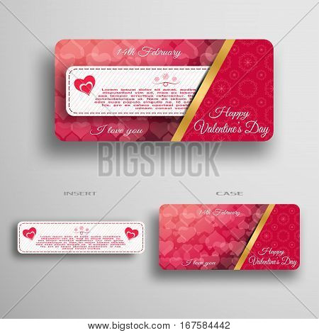 Vector set of greeting card for Valentine's Day insert in case with gold stripe and red pattern from hearts on the gray gradient background.