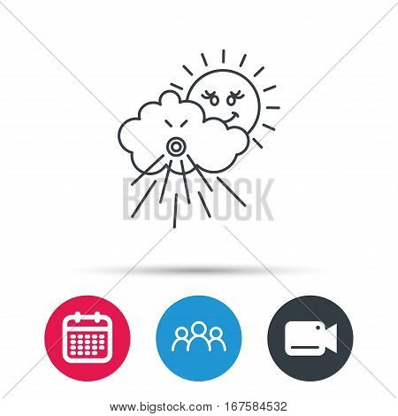 Wind icon. Cloud with sun and storm sign. Strong wind or tempest symbol. Group of people, video cam and calendar icons. Vector