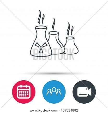 Industry building icon. Manufacturing sign. Chemical toxic production symbol. Group of people, video cam and calendar icons. Vector