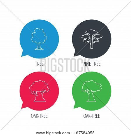Colored speech bubbles. Pine tree, oak-tree icons. Forest trees linear sign. Flat web buttons with linear icons. Vector
