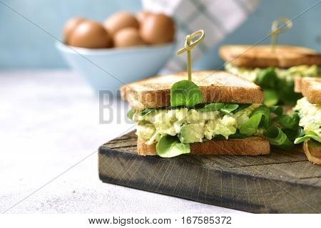 Sandwich With Egg Avocado Salad.