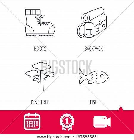 Achievement and video cam signs. Pine tree, fish and hiking boots icons. Bonfire linear sign. Calendar icon. Vector