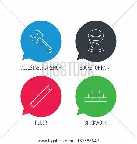 Colored speech bubbles. Brickwork, measurement and adjustable wrench icons. Bucket of paint linear sign. Flat web buttons with linear icons. Vector