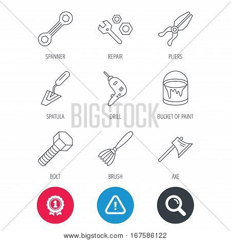 Achievement and search magnifier signs. Spanner repair tool, spatula and bolt icons. Bucket of paint, axe and brush linear signs. Drill, pliers flat line icons. Hazard attention icon. Vector