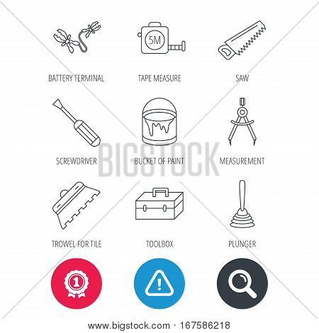 Achievement and search magnifier signs. Screwdriver, plunger and repair toolbox icons. Trowel for tile, bucket of paint linear signs. Measurement, battery terminal icons. Hazard attention icon. Vector