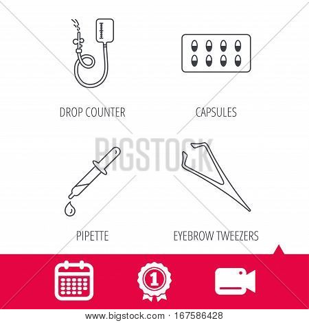 Achievement and video cam signs. Drop counter, capsules and pipette icons. Eyebrow tweezers linear sign. Calendar icon. Vector