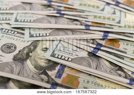 Heap of cash in hundred dollar bankontes
