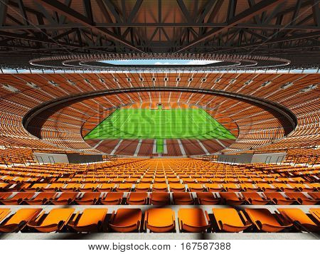 3D Render Of A Round Football -  Soccer Stadium With  Orange Seats And Vip Boxes