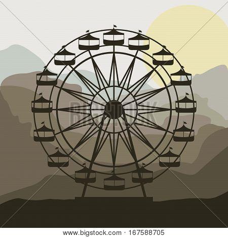 scene background ferris wheel in thematic park vector illustration