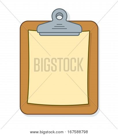 Brown clipboard with sheet of blank paper for your list or message vector illustration