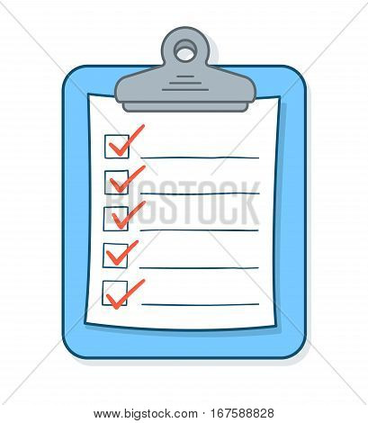Cartoon checklist with red check marks and blank copy space on clipboard vector illustration
