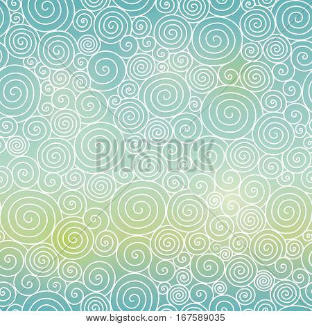 Vector Blue Green Sky Gradient Abstract Swirls Seamless Pattern Background. Great for elegant texture fabric, cards, wedding invitations, wallpaper. Surface pattern design.