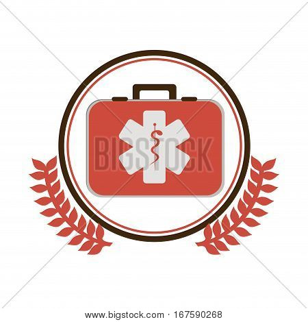 circular border with ornament leaves with first aid kit with health symbol with serpent entwine vector illustration