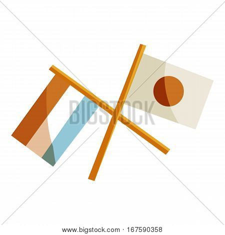 Japan and Netherlands crossed flags icon. Cartoon illustration of Japan and Netherlands crossed flags vector icon for web