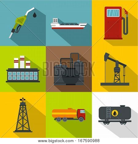 Gasoline icons set. Flat illustration of 9 gasoline vector icons for web