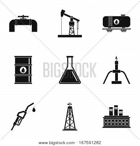 Oil production icons set. Simple illustration of 9 oil production vector icons for web