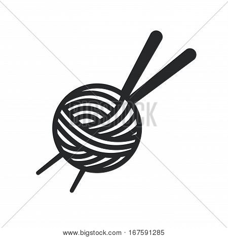 Thread Spool and needle icon over white background. tailor shop concept. vector illustration