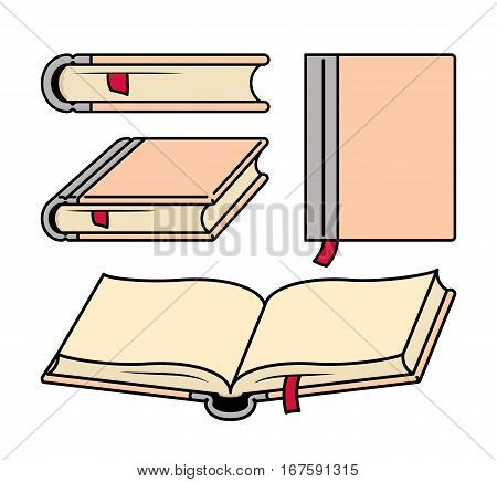 Shapes Of Books From Various Angles. Vector Illustration