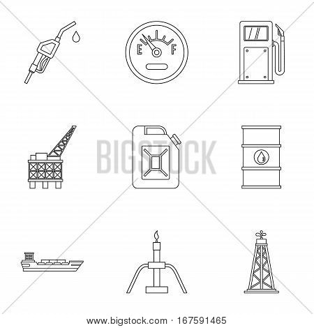 Gasoline icons set. Outline illustration of 9 gasoline vector icons for web