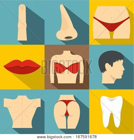 Body icons set. Flat illustration of 9 body vector icons for web